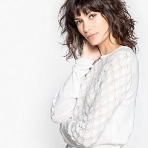 Пуловер с круглым вырезом и длинными рукавами из оригинального трикотажа LA REDOUTE COLLECTIONS. Цвет: розовая пудра,синий морской,синий,слоновая кость