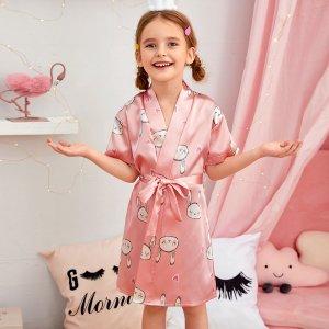 Атласный халат с поясом и принтом кролика для девочек SHEIN. Цвет: розовые