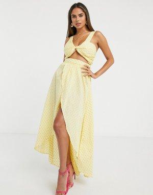 Желтое пляжное платье макси для груди большого размера -Желтый ASOS DESIGN