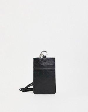 Кожаный чехол для телефона с ремешком -Черный цвет Urbancode