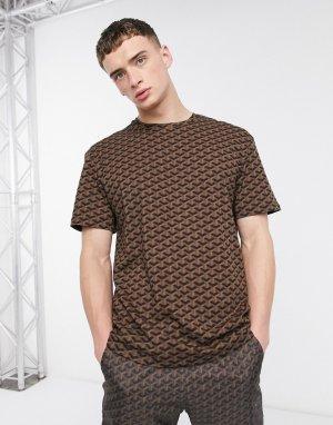 Коричневая футболка с геометрическим принтом -Черный Criminal Damage