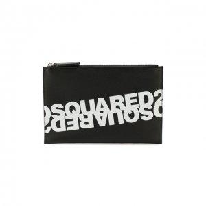 Кожаный футляр для документов Dsquared2. Цвет: чёрный
