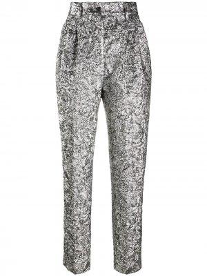 High-rise floral matelassé trousers Alberta Ferretti. Цвет: серебристый
