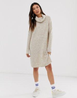 Вязаное платье мини с высоким воротником -Бежевый Only