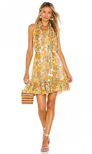 Платье poppy Zimmermann. Цвет: желтый