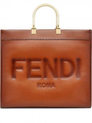 Большая сумка-тоут Sunshine Fendi. Цвет: коричневый