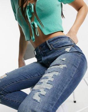 Рваные джинсы скинни -Синий Abercrombie & Fitch