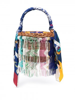 Соломенная сумка-ведро в стиле колор-блок Missoni. Цвет: нейтральные цвета