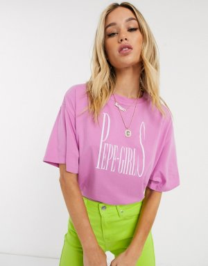 Oversized-футболка с логотипом Dua Lipa x -Розовый Pepe Jeans