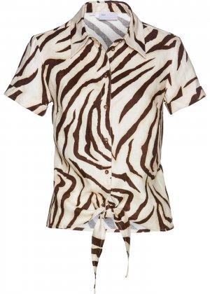 Льняная блузка с полосками зебра bonprix. Цвет: корич-невый