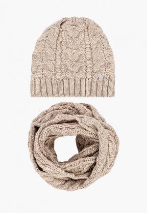 Комплект TrendyAngel шапка и снуд 40х130 см. Цвет: бежевый