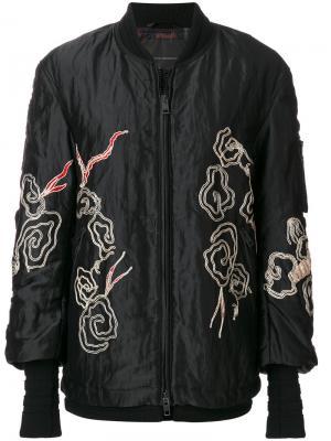 Куртка-бомбер с вышивкой Ermanno Scervino. Цвет: чёрный