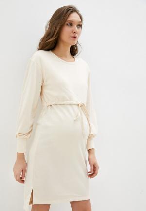 Платье Mamalicious. Цвет: бежевый