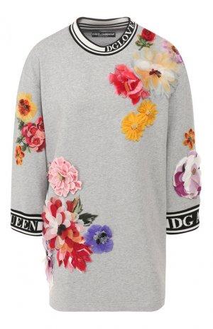 Хлопковый пуловер Dolce & Gabbana. Цвет: светло-серый