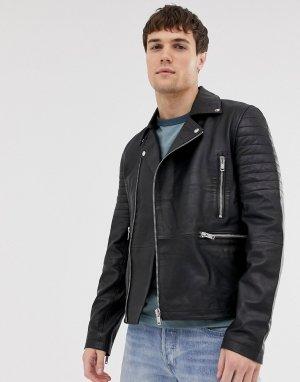 Кожаная байкерская куртка на молнии со стеганой отделкой -Черный Barneys Originals