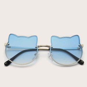 Детский Рамка Солнцезащитные очки SHEIN. Цвет: серебряные