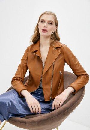 Куртка кожаная Blouson. Цвет: коричневый
