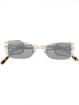 Солнцезащитные очки 10611H в закругленной оправе Matsuda. Цвет: brushed желтый / brushed серебристый