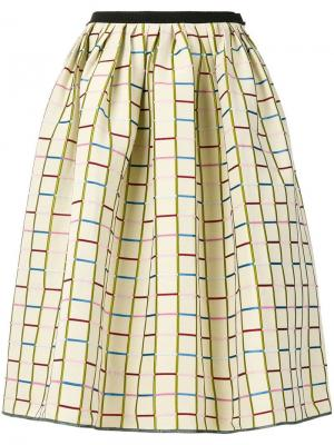 Пышная юбка миди с геометрическим узором Antonio Marras. Цвет: бежевый