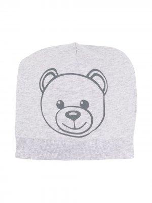 Шапка бини с принтом Teddy Bear Moschino Kids. Цвет: серый