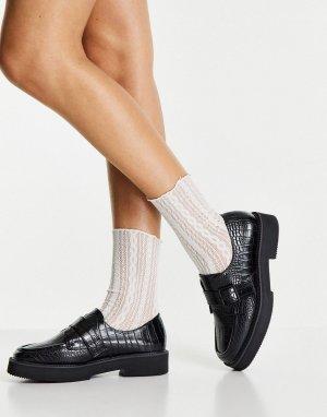 Черные туфли-монки с отделкой под крокодиловую кожу на плоской подошве Macaroon-Черный цвет ASOS DESIGN