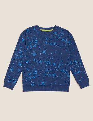 Свитшот с принтом брызги красок для мальчика Marks & Spencer. Цвет: синий