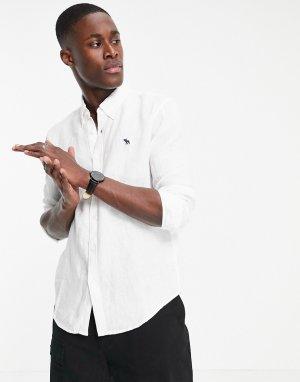 Белая льняная рубашка с фирменным логотипом -Белый Abercrombie & Fitch