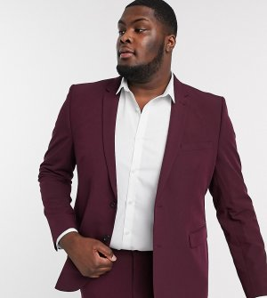 Бордовый пиджак скинни Big & Tall-Красный Burton Menswear
