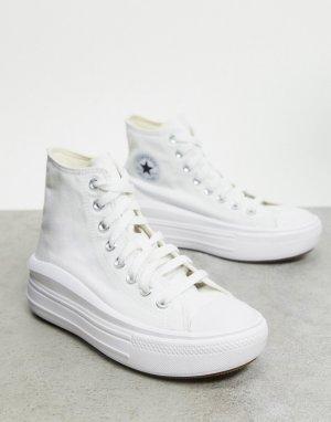 Белые высокие кеды на платформе Chuck Taylor Move-Белый Converse