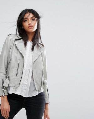 Кожаная куртка Lewin Balfern AllSaints. Цвет: серый