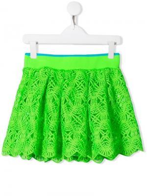 Кружевная юбка Alberta Ferretti Kids. Цвет: зеленый