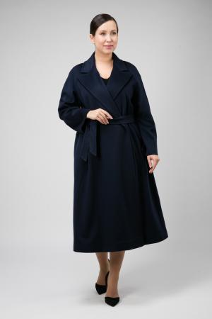 Классическое пальто на запахе с английским воротником для большого размера Teresa Tardia. Цвет: темно-синий