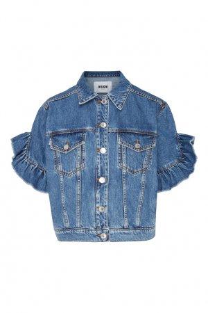 Джинсовая куртка с рюшами на рукавах MSGM. Цвет: синий