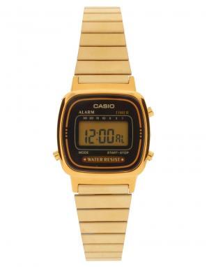 Электронные часы с черным циферблатом и золотистым ремешком Mini LA670WEGA-1EF-Черный Casio