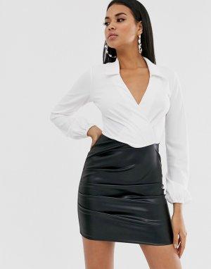 Платье мини с длинными рукавами и полиуретановой юбкой -Мульти ASOS DESIGN