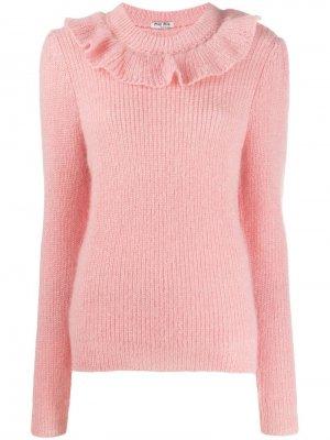 Трикотажный свитер с оборками Miu. Цвет: розовый