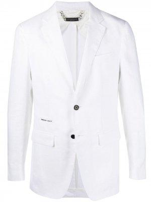 Пиджак Iconic стандартного кроя Philipp Plein. Цвет: белый