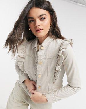 Бежевая джинсовая куртка с оборками -Neutral River Island