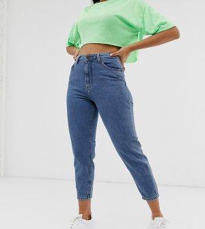 Укороченные джинсы в винтажном стиле с контрастными швами Noisy May Рetite-Синий Petite