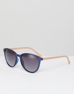 Круглые солнцезащитные очки темно-синего цвета TB1442 651 Ti Ted Baker. Цвет: темно-синий