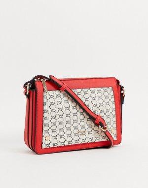 Кремово-красная сумка через плечо с монограммой -Кремовый Dune