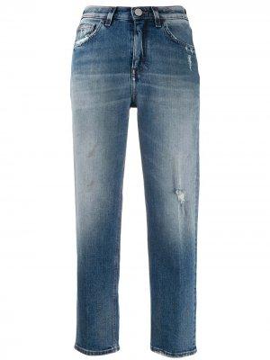 Укороченные джинсы прямого кроя Haikure. Цвет: синий