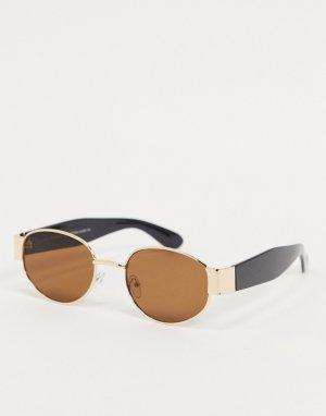 Черные круглые солнцезащитные очки в металлической оправе -Золотой SVNX
