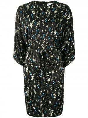Belted floral-print dress Erdem. Цвет: черный