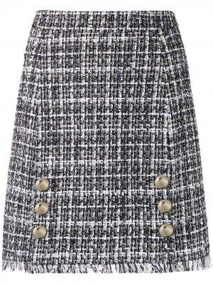 Твидовая юбка А-силуэта Blumarine. Цвет: белый
