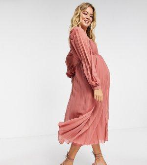 Плиссированное платье миди с расклешенной юбкой и квадратным вырезом цвета чайной розы ASOS DESIGN Maternity-Розовый цвет Maternity