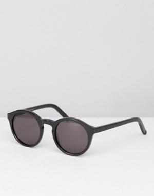 Солнцезащитные очки в круглой черной оправе Monokel Barstow Eyewear. Цвет: черный