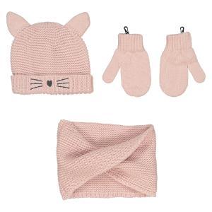 Комплект: шапка, варежки и шарф, 0 мес. - 3 года LA REDOUTE COLLECTIONS. Цвет: розовый