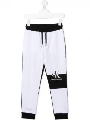 Двухцветные спортивные брюки Calvin Klein Kids. Цвет: черный