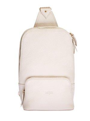 Кожаная сумка через плечо в стиле спортшик LORENA ANTONIAZZI. Цвет: бежевый